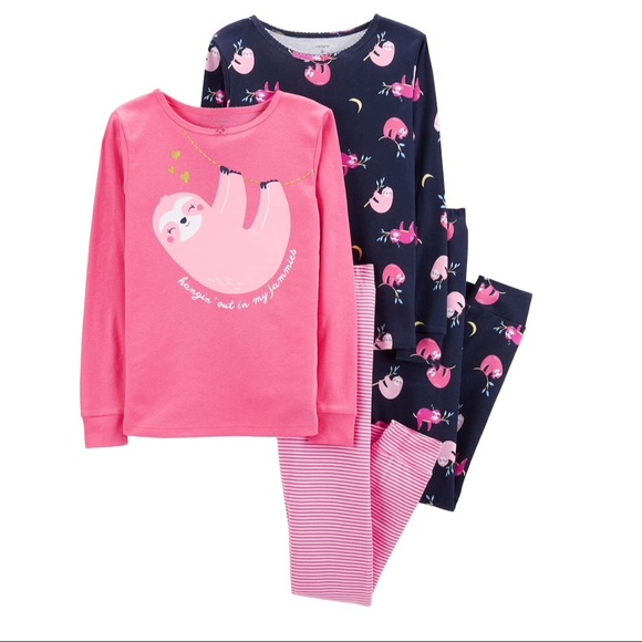 6b256898f Carter's Pajamas | Carters Girls 4piece Sloth Pajama Set | Poshmark